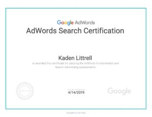Digital file of Littrell Digital's Google Adwords Search Certification certificate.