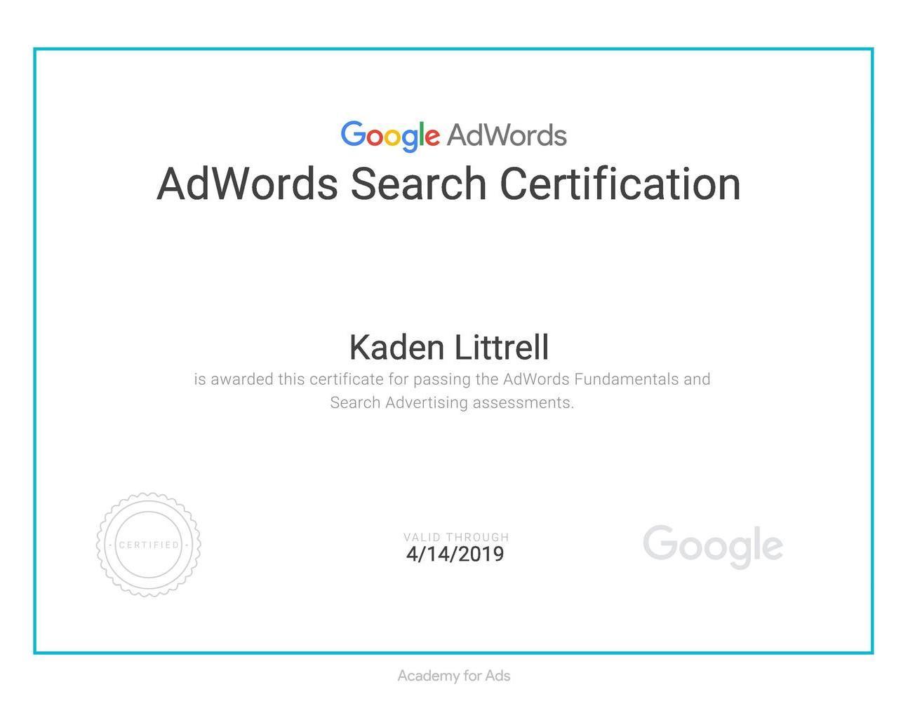 Google Adwords Search Advertising Certified Littrell Digital